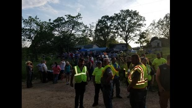 Volunteers lingering on the scene after the search for a 4-year-old boy. More than 300 people gave up their Memorial Day to search. (photo courtesy of Eleven Point Fire Department)