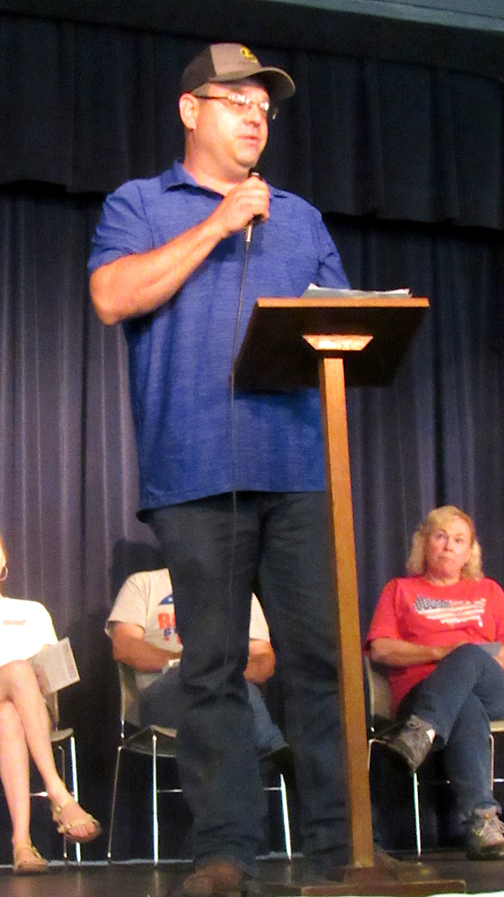 Calvin Wood, candidate for Northern Commissioner, speaks at the Star Theatre following the parade in Willow Springs. He spoke of his twenty years' experience that he hopes to put to work for the people of Howell County. (photo credit: Amanda Mendez)