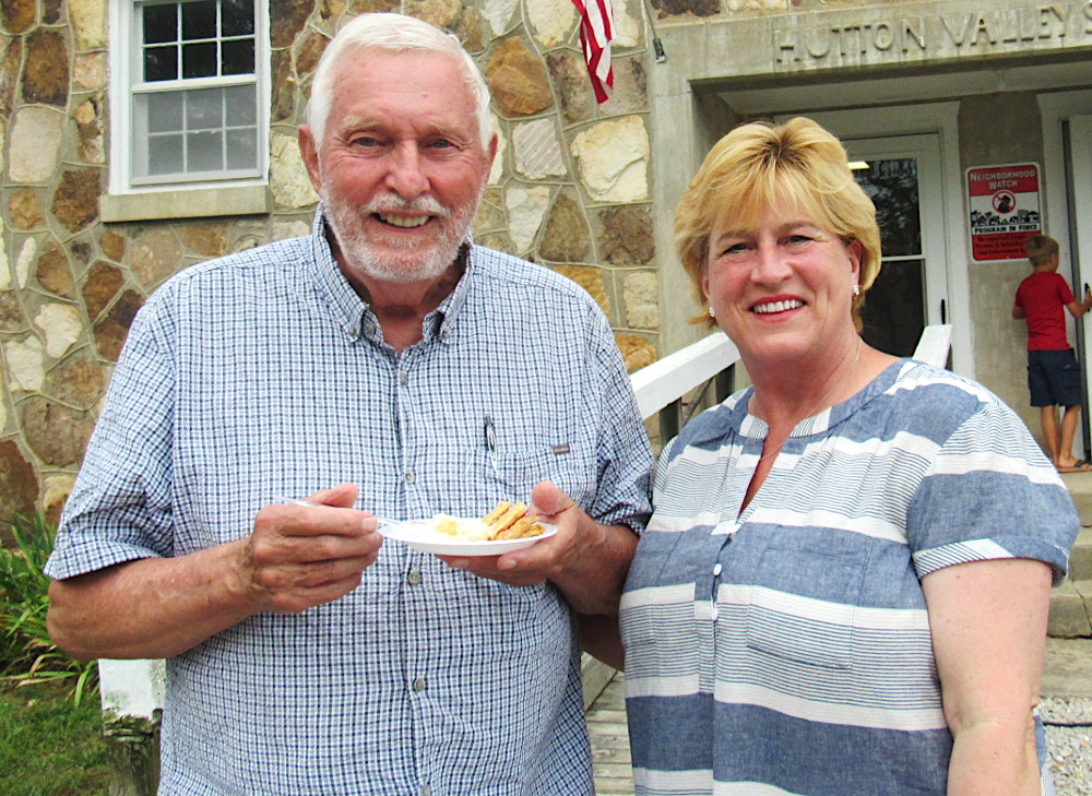 Karla Eslinger (right) poses with Wendell Bailey at the Hutton Valley Schoolhouse on July 4. Eslinger is running for the Missouri Senate's 33rd district. (photo credit: Amanda Mendez)