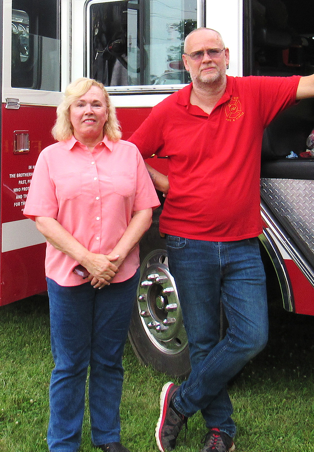 Kathleen Hensley poses with Eleven Point Fire Chief Frank Vanhorn. Hensley is a candidate for Northern Commissioner, and her focus is roads. At the Hutton Valley Pie Social, she spoke of her intention of representing northern Howell County in West Plains and said she is a public servant, not a politician. (photo credit: Amanda Mendez)